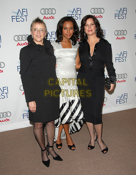 "MARY BETH HURT, MARCIA GAY HARDEN & KERRY WASHINGTON.Attends AFI Film Fest Screening of ""The Dead Girl"" held at The Arclight Rooftop, The Loft, Hollywood, LA,.California, USA, November 07, 2006..full length black and white striped dress.Ref: DVS.www.capitalpictures.com.sales@capitalpictures.com.©Debbie VanStory/Capital Pictures"