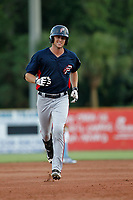 Potomac Nationals designated hitter Ian Sagdal (1) rounding the bases after homering during a game against the Myrtle Beach Pelicans at Ticketreturn.com Field at Pelicans Ballpark on July 19, 2018 in Myrtle Beach, South Carolina. Potomac defeated Myrtle Beach 6-3. (Robert Gurganus/Four Seam Images)