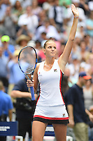 FLUSHING NY- SEPTEMBER 05: Karolina Pliskova reacts after winning her match against Venus Williams on Arthur Ashe Stadium at the USTA Billie Jean King National Tennis Center on September 5, 2016 in Flushing Queens. Credit: mpi04/MediaPunch