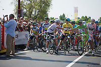 Peter Sagan (SVK) &amp; Michal Kwiatkowski (POL) shake hands at the start while Chris Froome (GBR) approves<br /> <br /> Tour de France 2013<br /> stage 12: Fougères - Tours 218km