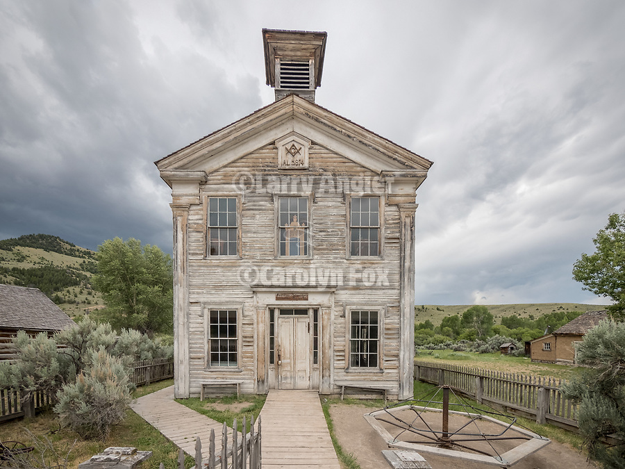 One-room school and Masonic Hall, ghost town of Bannock, Montana, first territorial capital of the region