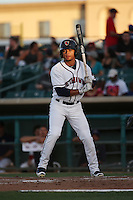 Jason Martin (2) of the Lancaster JetHawks bats against the Modesto Nuts at The Hanger on June 7, 2016 in Lancaster, California. Lancaster defeated Modesto, 3-2. (Larry Goren/Four Seam Images)