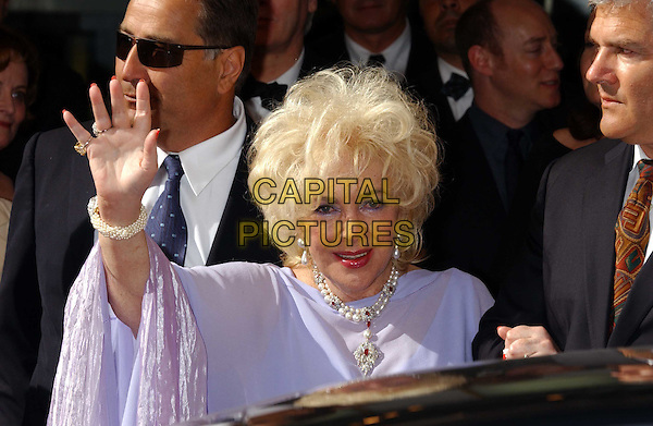 "DAME ELIZABETH TAYLOR.attends screening of ""Giant"" at Olympia cinema.for Aids charity AmFAR.Cannes Film Festival 2003.www.capitalpictures.com.sales@capitalpictures.com.©Capital Pictures.waving"