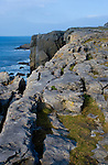 The Burren Coastline,  Co.Clare - limestone karst showing clints and crikes running right down to the Atlantic Ocean near Fanore...