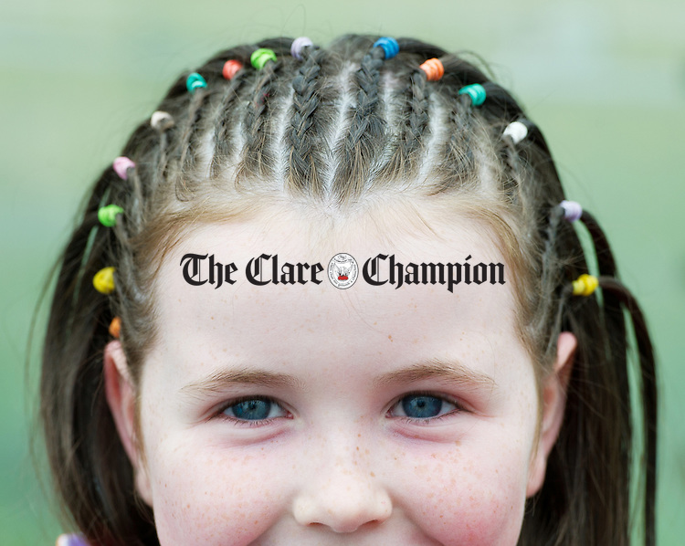 Leah from First class got her hair braided before school at St Flannan's  National School, Inagh. Photograph by John Kelly.
