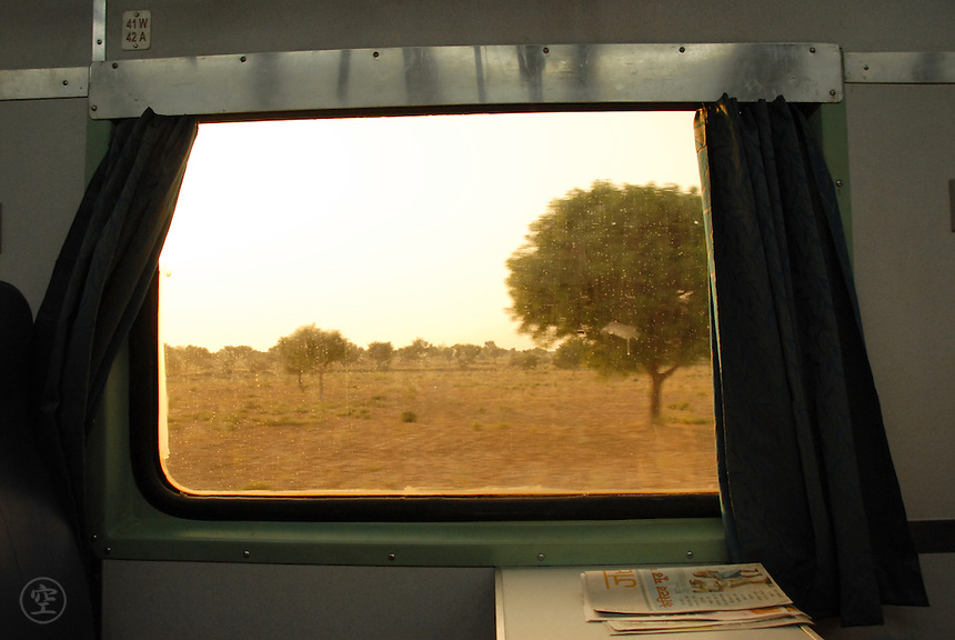 A view of the Thar desert through a train window bound for Jodhpur, Rajastan.