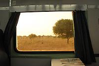 A view of the Thar desert through a train window bound for Jodhpur, Rajastan.