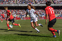 CHICAGO, IL - OCTOBER 06: Jessica McDonald #22 of the United States during a game between the USA and Korea Republic at Soldier Field, on October 06, 2019 in Chicago, IL.