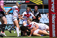 The English defence stop Teuila Fotu-Moala close to the line. Kiwi Ferns v England, Women's Rugby League World Cup Semi Final at Southern Cross Group Stadium, Sydney, Australia on 26 November 2017. Copyright Image: David Neilson / www.photosport.nz MANDATORY CREDIT/BYLINE : David Neilson/SWpix.com/PhotosportNZ