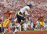 Keenan Allen of California scores a touchdown during the game against USC at LA Memorial Coliseum in Los Angeles, California.  USC defeated California, 48-14.