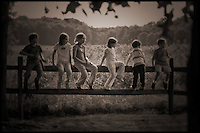 Brown toned, faded, old style photo of children playing on split rail fence next to overgrown field