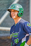 8 July 2015: Vermont Lake Monsters outfielder Steven Pallares awaits his turn in the batting cage prior to a game against the Mahoning Valley Scrappers at Centennial Field in Burlington, Vermont. The Lake Monsters defeated the Scrappers 9-4 to open the home game series of NY Penn League action. Mandatory Credit: Ed Wolfstein Photo *** RAW Image File Available ****