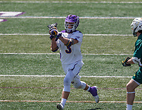 TD Ierlan (#3) carries the ball into the attack as UAlbany Lacrosse defeats Vermont 14-4  in the American East Conference Championship game at Casey Stadium, May 5.