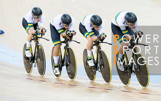 The team of Australia with Nathan Hart, Cameron Meyer, Alexander Porter and Sam Welsford compete in the Men's Team Pursuit - Qualifying match as part of the 2017 UCI Track Cycling World Championships on 12 April 2017, in Hong Kong Velodrome, Hong Kong, China. Photo by Victor Fraile/ Power Sport Images