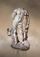 Roman statue of Hercules. Marble. Perge. 2nd century AD. Inv no . Antalya Archaeology Museum; Turkey. Against a warm art background.