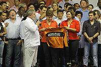 PA - ELEIÇÕES 2010/DILMA/PA - POLÍTICA - ATENÇÃO EDITOR: IMAGEM EMBARGADA PARA VEÍCULOS DO ESTADO DO PARÁ. A candidata do PT à Presidência da República, Dilma Rousseff (e), e a governadora do Pará, Ana Júlia Carepa (c), candidata a reeleição pelo PT, e o presidente Luiz Inácio Lula da Silva, durante comício em Ananindeua (PA), na noite desta quinta- feira.  <br />  <br /> Foto: TARSO SARRAF/AE/AE