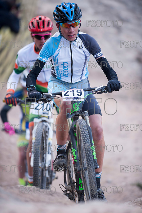 Chelva, SPAIN - MARCH 6: Francisco Miguel Huertas during Spanish Open BTT XCO on March 6, 2016 in Chelva, Spain