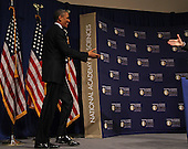 United States President Barack Obama arrives on stage to speak at the National Academy of Sciences 150th Anniversary event in Washington, Monday, April 29, 2013.<br /> Credit: Martin Simon / Pool via CNP