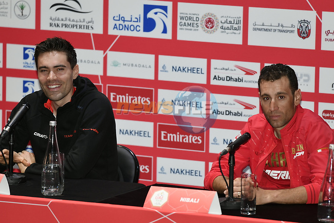 The 2019 UAE Tour Tom Dumoulin (NED) Team Sunweb and Vincenzo Nibali (ITA) Bahrain Merida spoke to the media this afternoon in Louvre Abu Dhabi, United Arab Emirates. 23rd February 2019.<br /> Picture: LaPresse/Fabio Ferrari | Cyclefile<br /> <br /> <br /> All photos usage must carry mandatory copyright credit (© Cyclefile | LaPresse/Fabio Ferrari)