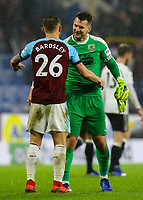 Burnley's Tom Heaton celebrates with Phil Bardsley after the match<br /> <br /> Photographer Alex Dodd/CameraSport<br /> <br /> The Premier League - Burnley v Fulham - Saturday 12th January 2019 - Turf Moor - Burnley<br /> <br /> World Copyright © 2019 CameraSport. All rights reserved. 43 Linden Ave. Countesthorpe. Leicester. England. LE8 5PG - Tel: +44 (0) 116 277 4147 - admin@camerasport.com - www.camerasport.com