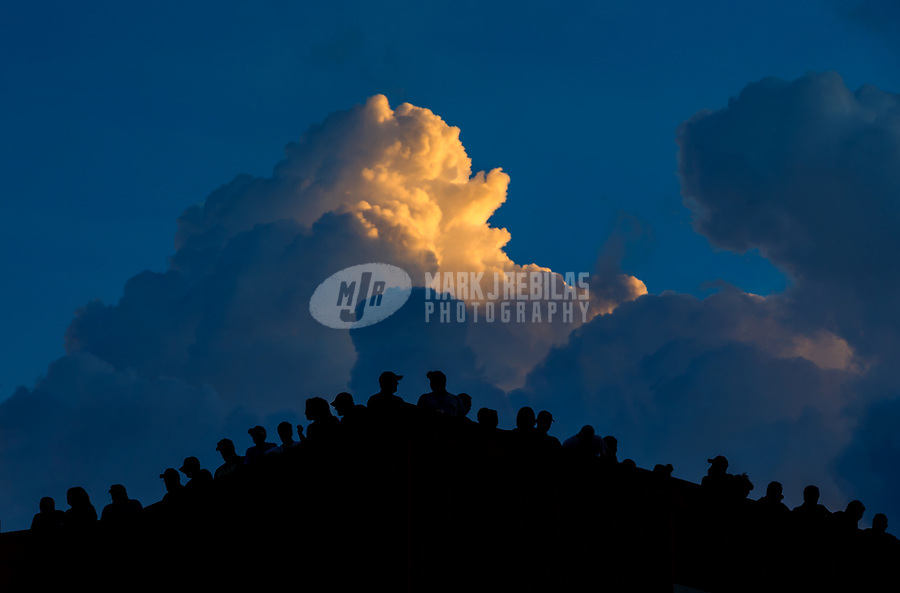 Jun 16, 2017; Bristol, TN, USA; Clouds behind NHRA fans on the roof of the timing tower suites during qualifying for the Thunder Valley Nationals at Bristol Dragway. Mandatory Credit: Mark J. Rebilas-USA TODAY Sports