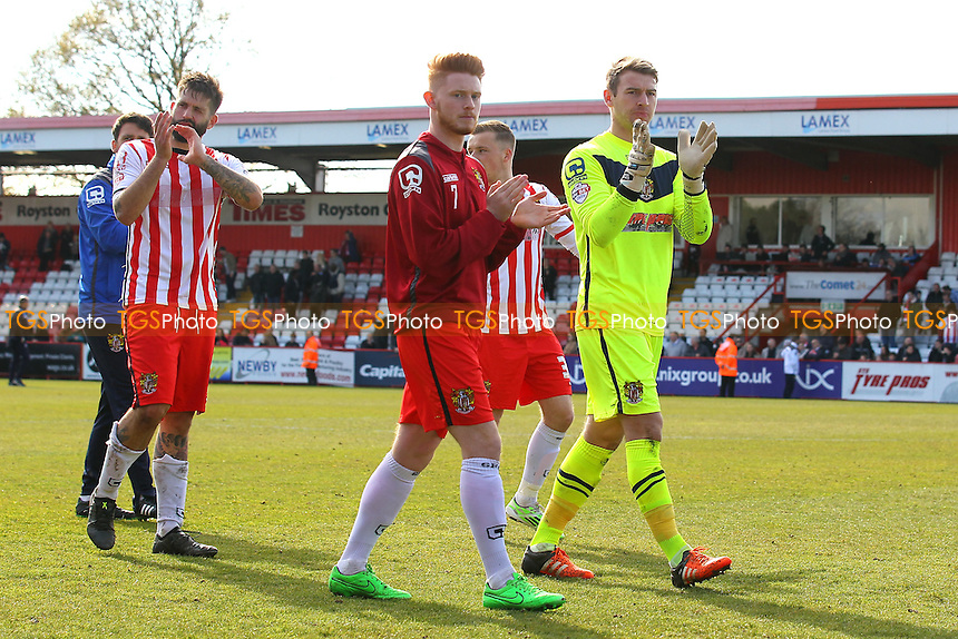 Stevenage players thanks the fans during Stevenage vs AFC Wimbledon, Sky Bet League 2 Football at the Lamex Stadium on 30th April 2016
