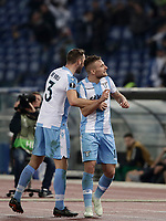 Europa League quarter-final 1st leg <br /> S.S. Lazio - FC Salzburg  Olympic Stadium Rome, April 5, 2018.<br /> Lazio's Ciro Immobile (r) celebrates after scoring with his teammates Stefan de Vrij (l) during the Europa League match between Lazio and Salzburg at Rome's Olympic stadium, April 5, 2018.<br /> UPDATE IMAGES PRESS/Isabella Bonotto