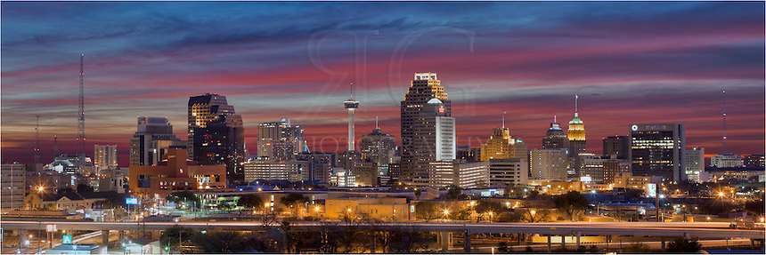 The distinctive San Antonio Skyline is a beautiful sight at night. This San Antonio panorama is a stitch of several images.