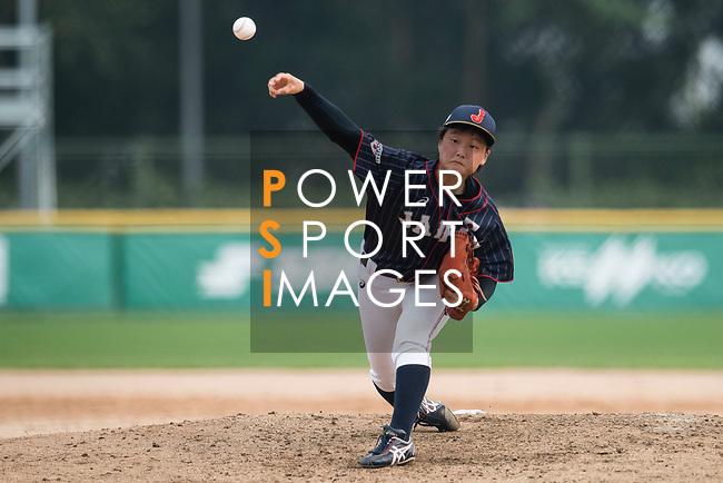 #19 Himeno Mayu of Japan delivers during the BFA Women's Baseball Asian Cup match between South Korea and Japan at Sai Tso Wan Recreation Ground on September 2, 2017 in Hong Kong. Photo by Marcio Rodrigo Machado / Power Sport Images