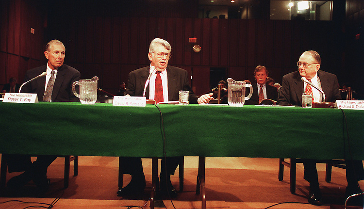 4-14-99.INDEPENDENT COUNSEL ACT-- Members of the Special Division of the Court of Appeals, Peter T. Fay, David B. Sentelle and Richard D. Cudahy, testifie during the Senate  Governmental Affairs Committee hearing on the future of the Independent Counsel Act..CONGRESSIONAL QUARTERLY PHOTO BY DOUGLAS GRAHAM
