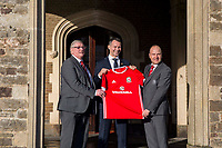 Ryan Giggs poses for a photograph with FAW chief executive Jonathan Ford (right) and FAW President David Griffiths (left) as he is unveiled as the new Wales National team Manager at Hensol Castle, Vale of Glamoran, on 15 January 2018. Photo by Mark Hawkins.