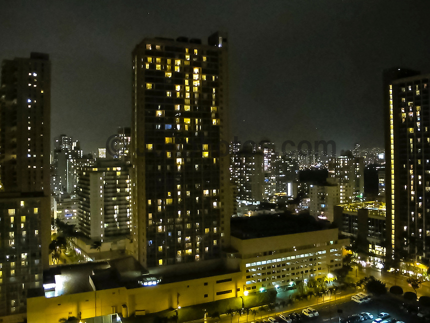 HONOLULU - (Monday, December 31, 2012) Overlooking Waikiki at night from the Marriott Hotel. Photo: joliphotos.com