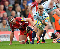 Oxford, England. Sam Harrison of Leicester Tigers clears the ball during the Aviva Premiership match between London Welsh  and Leicester Tigers at Kassam Stadium on September 2, 2012 in Oxford, England.