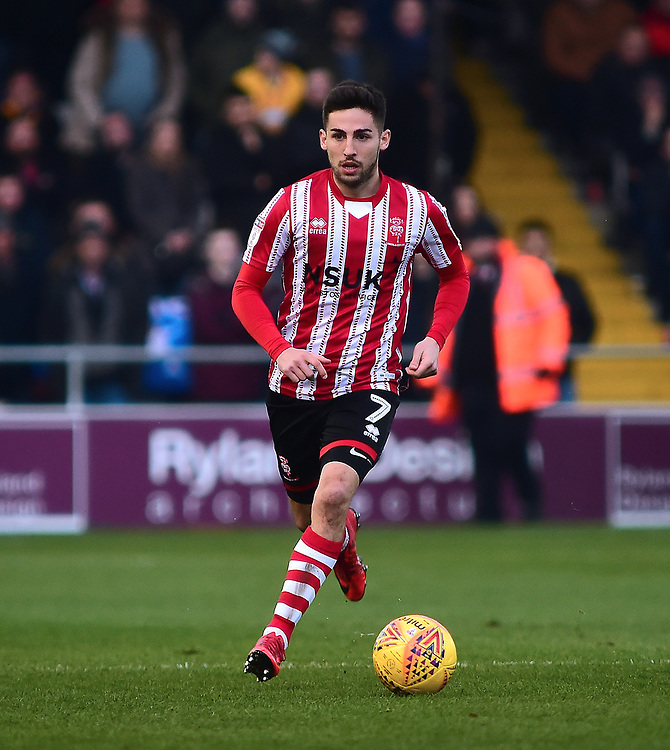 Lincoln City's Tom Pett<br /> <br /> Photographer Andrew Vaughan/CameraSport<br /> <br /> The EFL Sky Bet League Two - Lincoln City v Mansfield Town - Saturday 24th November 2018 - Sincil Bank - Lincoln<br /> <br /> World Copyright © 2018 CameraSport. All rights reserved. 43 Linden Ave. Countesthorpe. Leicester. England. LE8 5PG - Tel: +44 (0) 116 277 4147 - admin@camerasport.com - www.camerasport.com
