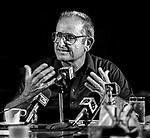 August 1, 1984--Alex Spanos--Alex Spanos speaks at press conference in Stockton, California.  Photo by Al Golub/Golub Photography