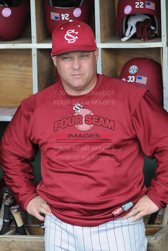 Head coach Chad Holbrook (2) of the South Carolina Gamecocks before a game against the Furman Paladins on Wednesday, April 3, 2013, at Fluor Field at the West End in Greenville, South Carolina. (Tom Priddy/Four Seam Images)
