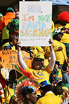 """11 JUN 2010: Fan in the stands of the Soccer City Stadium holds a sign reading """"No, I'm not David Beckham - please stop asking."""", pregame. The South Africa National Team played the Mexico National Team at Soccer City Stadium in Johannesburg, South Africa in the opening match of the 2010 FIFA World Cup."""