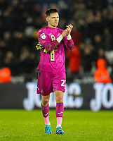 2nd January 2020; Liberty Stadium, Swansea, Glamorgan, Wales; English Football League Championship, Swansea City versus Charlton Athletic; Freddie Woodman of Swansea City applauds the fans after their win - Strictly Editorial Use Only. No use with unauthorized audio, video, data, fixture lists, club/league logos or 'live' services. Online in-match use limited to 120 images, no video emulation. No use in betting, games or single club/league/player publications