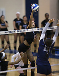 Marymount's Cailyn Thomas hits in a college volleyball game, in Arlington, Vir., on Saturday, Nov. 1, 2014.<br /> Photo by Cathleen Allison