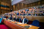 UTRECHT - Overzicht zaal,  met oa Erik Cornelissen en Erik Gerritsen, Nationaal Hockey Congres van de KNHB, COPYRIGHT KOEN SUYK
