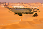 Chad (Tchad), North Africa, Sahara, palm fringed oasis with fresh water surrounded by sand dunes in northern Chad