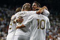 2011 Spanin La Liga Machtday 3st. Real Madrid vs Getafe Sep 10 st. Picture show Sergio Ramos, Pepe,  Benzema and Ozil celebtating the second goal of Benzema...