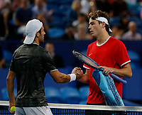 7th January 2020; RAC Arena, Perth, Western Australia; ATP Cup Australia, Perth, Day 5; USA versus Italy; Stefano Travaglia of Italy shakes hands with Taylor Fritz of the USA after defeating him in straight sets - Editorial Use