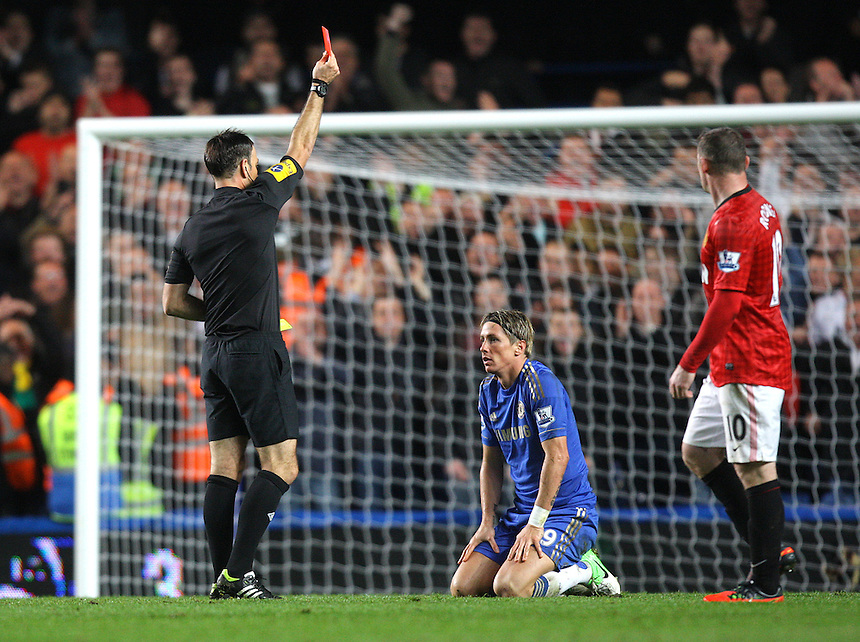Chelsea's Fernando Torres receives a red card sending off..Football - Barclays Premiership - Chelsea v Manchester United - Sunday 28th October 2012 - Stamford Bridge - London..
