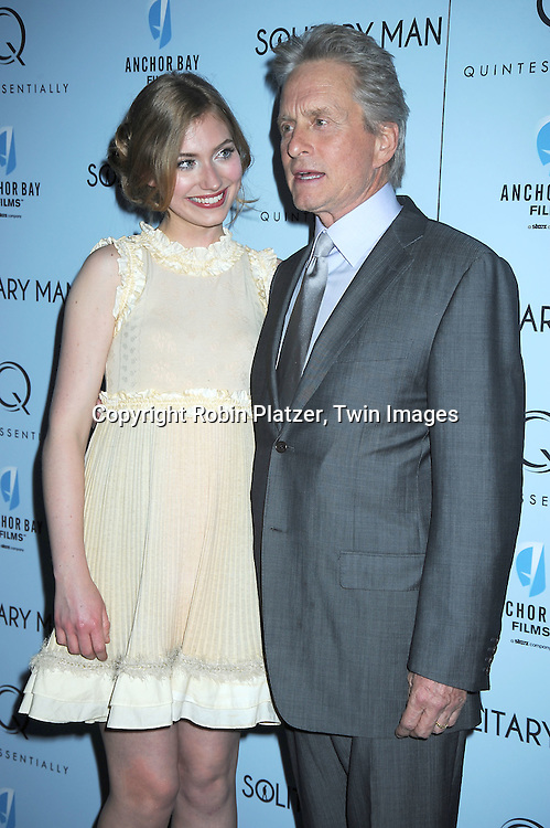 "Imogen Poots, Michael Douglas  attending  The New York Premiere of ""Solitary Man"" starring Michael Douglas, Jenna Fischer, Imogen Poots at Cinema 2 on May 11, 2010 in New York City."