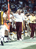 Washington Redskins special teams coach Wayne Sevier on the sidelines during a pre-season game against the Miami Dolphins at RFK Stadium in Washington, D.C. on August 25, 1989.  The Redskins won the game 35 - 21.<br /> Credit: Arnold Sachs / CNP