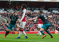 Southampton's Charlie Austin after scoring during the EPL - Premier League match between Arsenal and Southampton at the Emirates Stadium, London, England on 8 April 2018. Photo by Andrew Aleksiejczuk / PRiME Media Images.