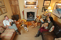 FAO JANET TOMLINSON, DAILY MAIL PICTURE DESK<br />Pictured: Owners Gillian and Mark Thompson with some of the dogs they accommodate in their house Monday 14 November 2016<br />Re: The Dog House in the village of Talog, Carmarthenshire, Wales, UK