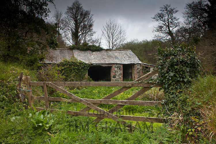 Rundown farm shack at Helston, Cornwall, England, UK