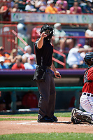 Umpire Tom Hanahan calls a strike during an Eastern League game between the Harrisburg Senators and Erie SeaWolves on June 30, 2019 at UPMC Park in Erie, Pennsylvania.  Erie defeated Harrisburg 4-2.  (Mike Janes/Four Seam Images)